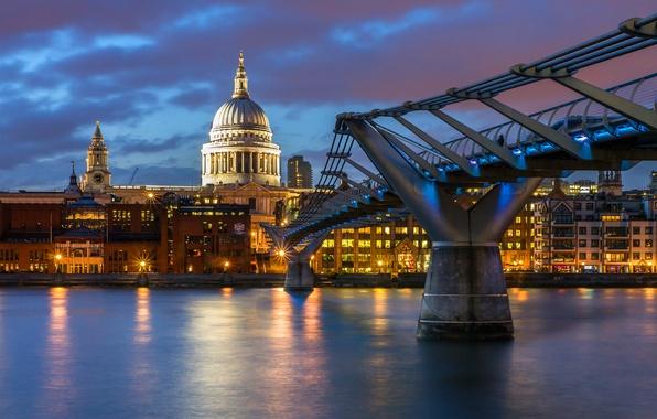Картинка небо, вода, тучи, город, огни, отражение, река, Англия, Лондон, здания, дома, вечер, освещение, подсветка, Великобритания, …