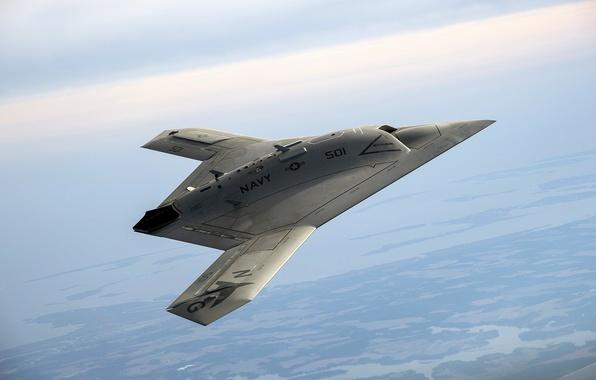 Картинка небо, авиация, ландшафт, панорама, полёт, боевой, летательный аппарат, беспилотный, беспилотник, дрон, разведывательный, Northrop Grumman, X-47B ...