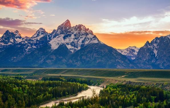 Картинка лето, горы, река, США, штат Вайоминг, Snake River, национальный парк Гранд-Титон, Overlook