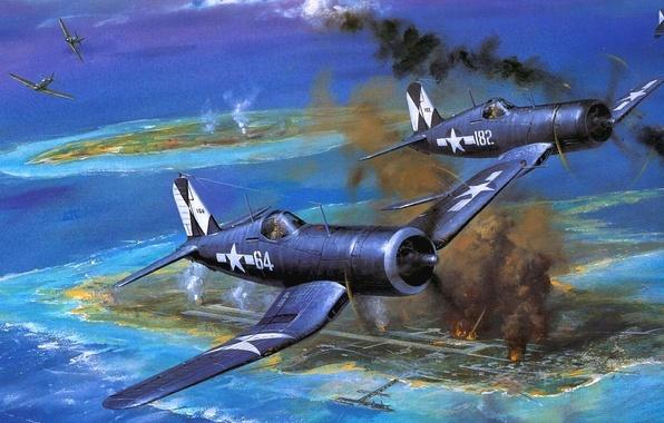Картинка небо, огонь, дым, рисунок, остров, арт, истребители, аэродром, самолёты, WW2, американские, палубные, одноместные, F4U «Корсар»