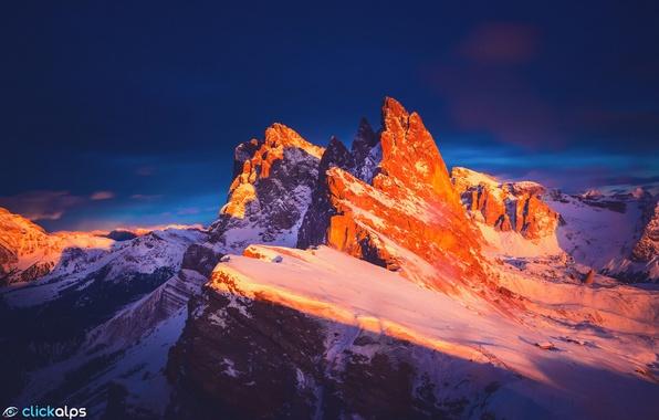 Картинка зима, закат, горы, скалы, вечер, Италия, хребет, Доломитовые Альпы, Январь