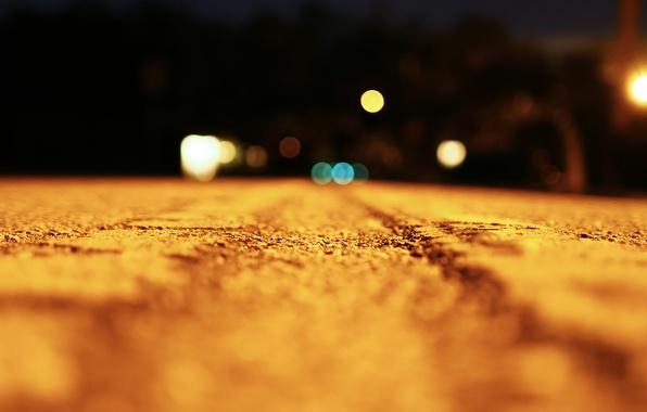 Фото обои дорога, макро, свет, ночь, light, road, night, macro, bokeh, 1920x1080, эффект боке