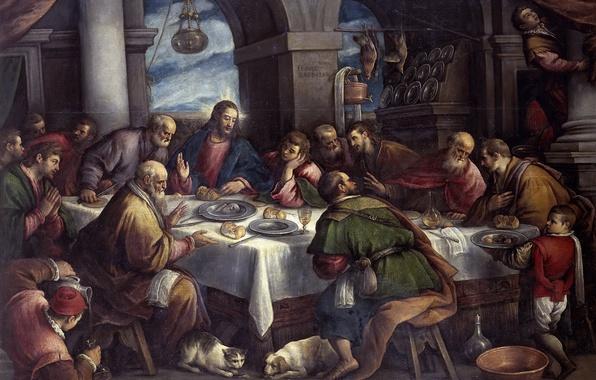 Картинка картина, религия, библия, жанровая, мифология, Франческо Бассано, Тайная Вечеря