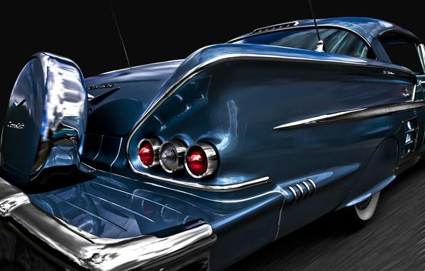 Картинка ретро, Chevrolet, классика, Impala, 1958