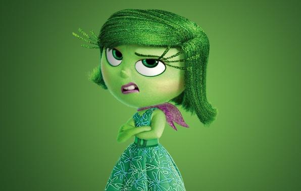 Картинка green, girl, dress, chibi, flowers, face, scarf, adventure, hana, 2015, Pixar Animation Studios, five emotions, …