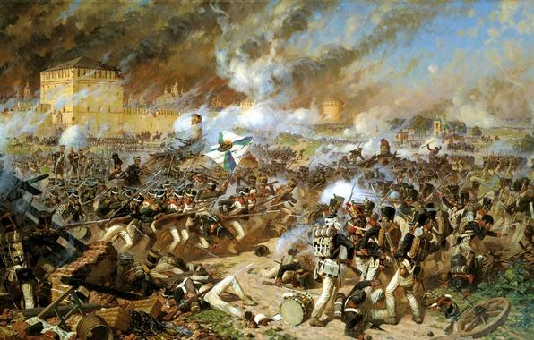 Картинка город, дым, флаг, солдаты, крепость, воины, трупы, выстрелы, полководец, battle, мастер батальных сцен, smolensk, artist, …
