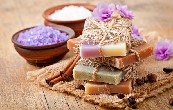 Картинка цветы, мыло, relax, soap, спа, coffee, lavender, spa, salt, natural, соли