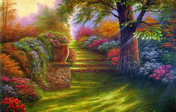 Картинка дорога, пейзаж, цветы, природа, дерево, сад, ступеньки, живопись