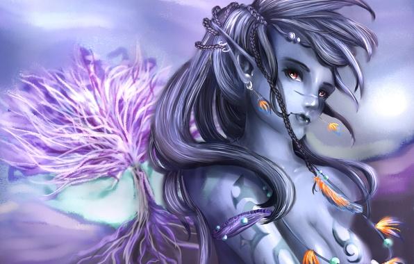 Картинка девушка, украшения, дерево, эльф, перья, арт, косички, эльфийка, темная, SenRyuji