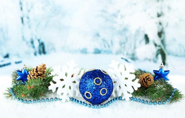 Картинка снежинки, Новый Год, Ветки, Шарики, Шишки, Праздники