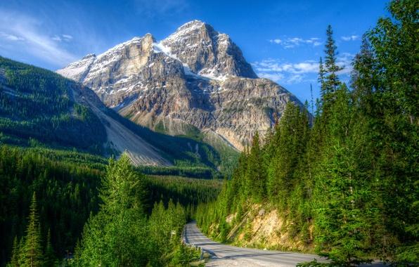 Картинка дорога, лес, пейзаж, горы, природа, парк, HDR, склон, Канада, Yoho
