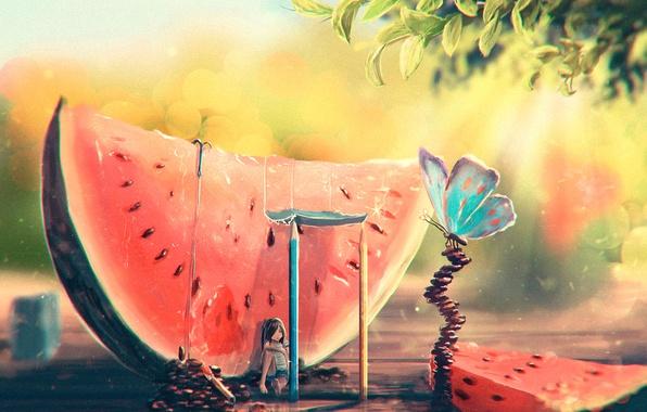 Картинка лето, бабочка, жара, арбуз, арт, девочка