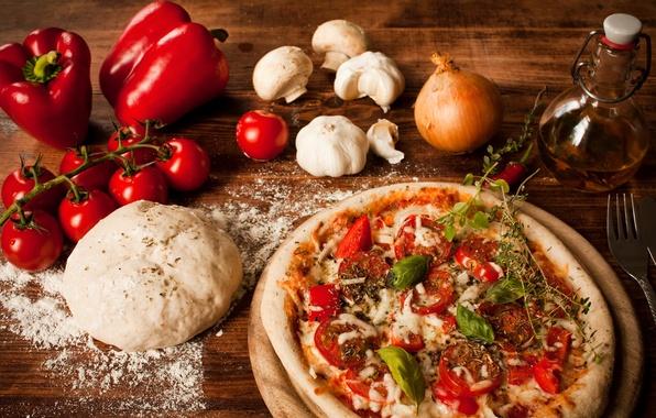 Картинка грибы, масло, сыр, лук, перец, пицца, помидоры, pizza, блюдо, чеснок, мука, тесто, болгарский