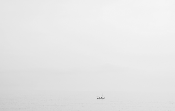 Картинка море, туман, лодка, рыбаки, дождливый