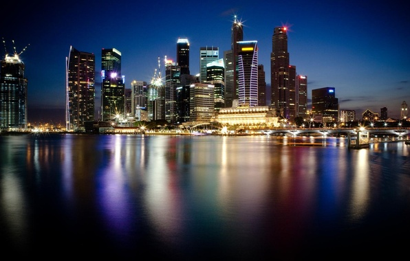 Картинка вода, город, огни, отражение, фото, обои, небоскребы, Сингапур, ночной, мегаполис