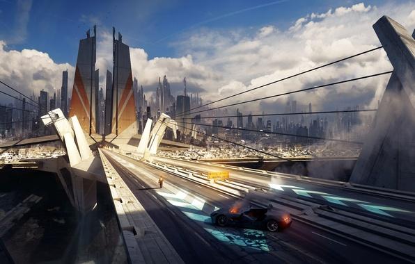 Картинка машина, мост, город, огонь, человек, небоскребы, арт, тросы, grivetart