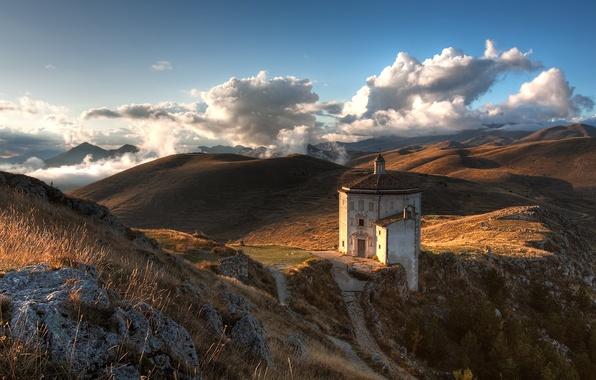 Картинка Небо, Горы, Церковь, Камни