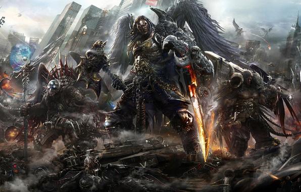 Картинка город, крылья, монстр, меч, арт, вертолет, посох, битва, мужчины
