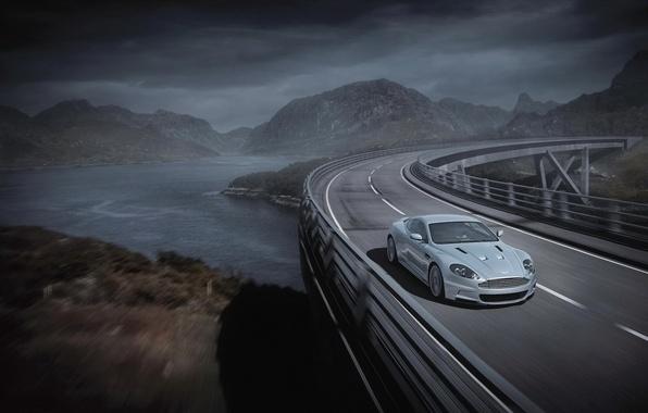 Картинка дорога, мост, серый, Aston Martin, астон мартин