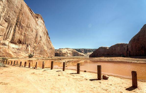 Картинка песок, небо, горы, озеро, пустыня, долина, Аризона, Юта, USA, США, Sky, Rock, desert, Arizona, lake, …