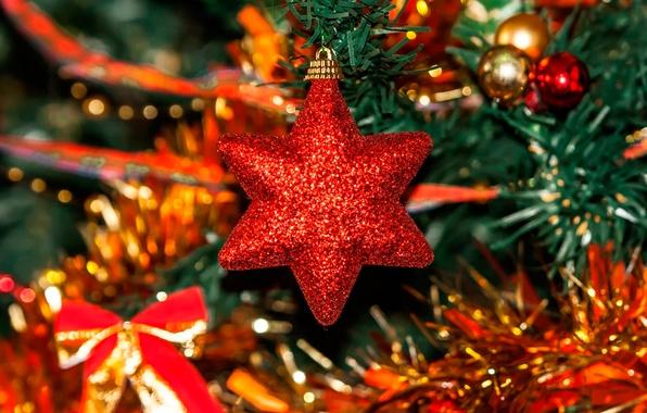 Картинка праздник, звезда, ёлка, украшение