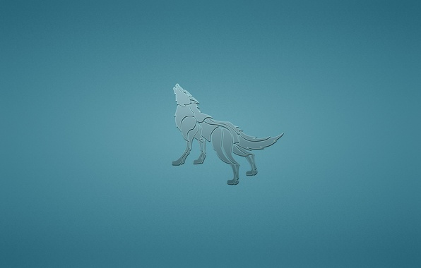 Картинка животное, волк, собака, минимализм, синий фон, воет