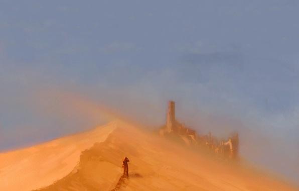 Картинка песок, замок, человек