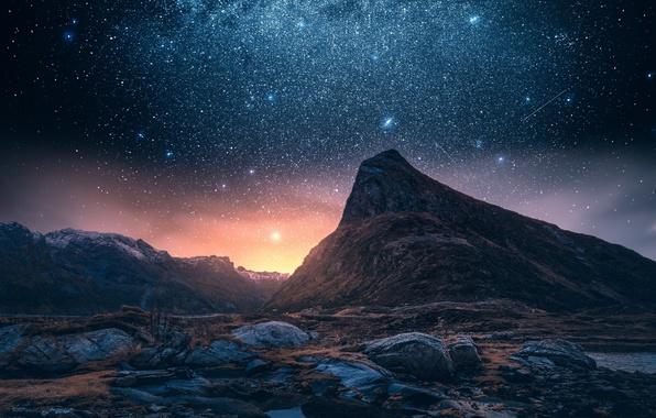 Звёздное небо и космос в картинках - Страница 6 Noch-nebo-zvezdy-gory-gora-skaly