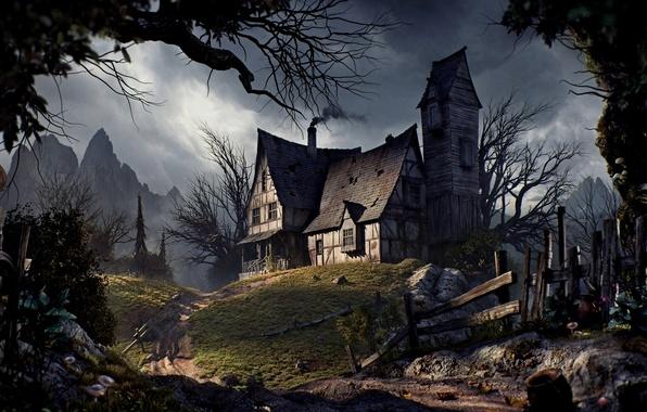 Картинка дорога, деревья, горы, забор, Halloween, Хэллоуин, road, trees, mountains, fence, Old house, Старый дом