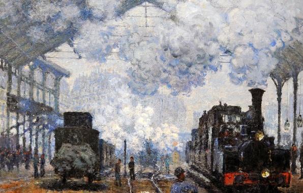 Картинка картина, Клод Моне, жанровая, Станция Сен-Лазар