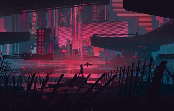 Картинка ночь, город, будущее, фантастика, небоскребы, мегаполис, spaceship, sci fi
