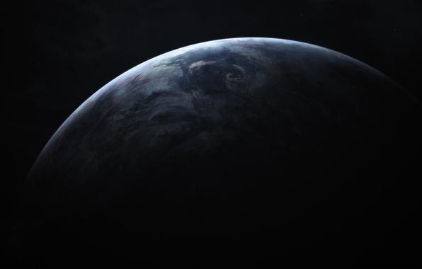 Картинка космос, поверхность, свет, пространство, тьма, планета, space, light, очертания, planet, darkness, surface, outlines