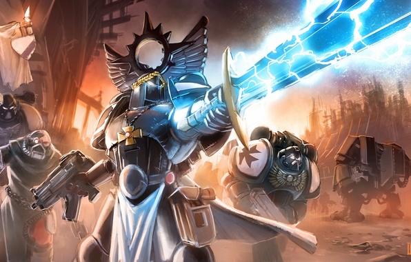 Картинка оружие, молния, крест, меч, доспехи, войны, арт, автомат, warhammer 40k, знамя, Loyvet Pierre, The Black …