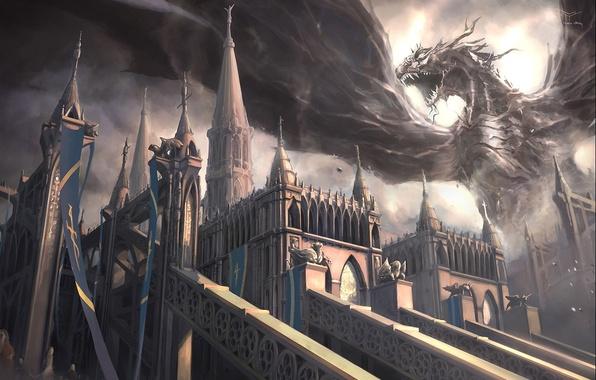 Картинка замок, дракон, крылья, монстр, арт, пасть, Mark Yang
