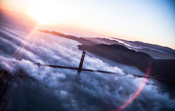 Картинка облака, мост, США, Америка, Golden Gate