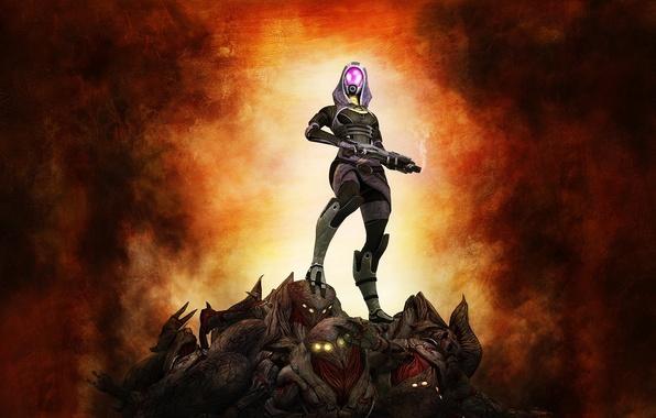 Картинка оружие, фон, mass effect 3, жнецы, fan art, Тали, reapers, Tali