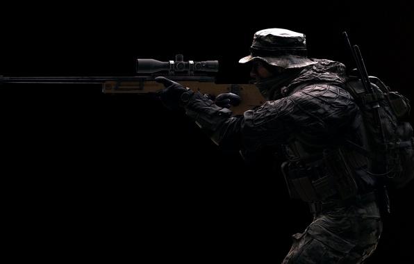 Картинка оружие, фон, солдат, винтовка, экипировка, снайперская, Battlefield 4