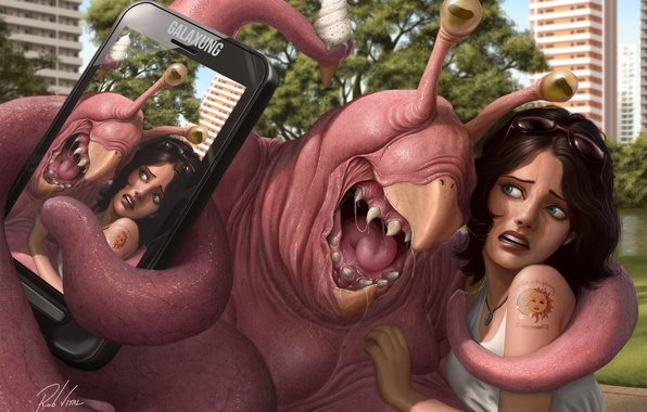 Картинка девушка, город, фото, фантастика, монстр, тату, арт, телефон, селфи
