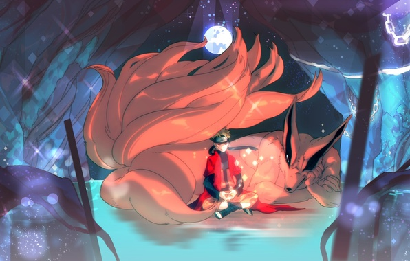Картинка улыбка, магия, луна, медитация, лис, парень, Наруто, Naruto, art, uzumaki naruto, kurama, ester