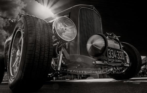 Картинка ретро, Ford, Форд, классика, передок, 1932, хот род
