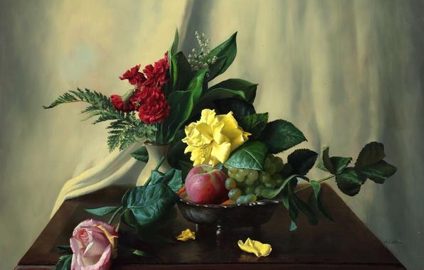 Картинка цветы, ягоды, яблоки, розы, картина, фрукты, натюрморт, папоротник, ландыши, столик, гвоздики