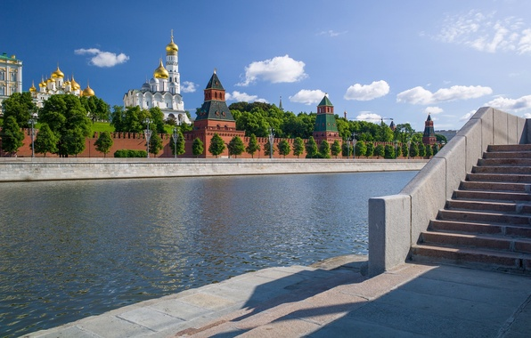 Картинка река, Москва, Россия, набережная, Москва-река, Московский Кремль, Софийская набережная