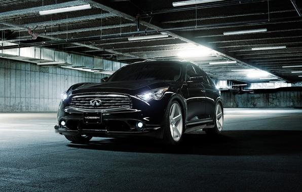 Картинка Infiniti, парковка, black, инфинити, front, Vossen, люминесцентные лампы, FX 35 S