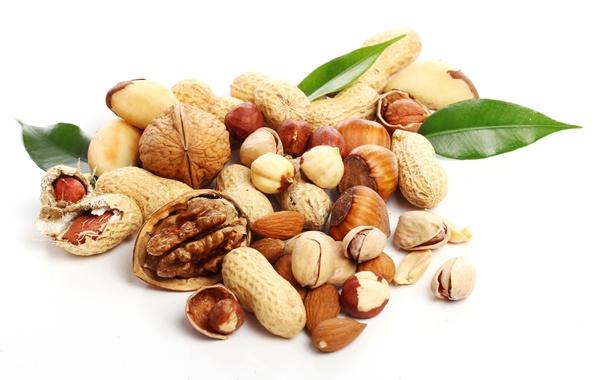 Картинка орехи, миндаль, фундук, арахис, фисташки, грецкие