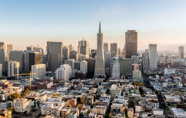 Картинка небо, city, город, туман, дом, здание, небоскреб, Калифорния, Сан-Франциско, USA, США, house, sky, даунтаун, Francisco, …