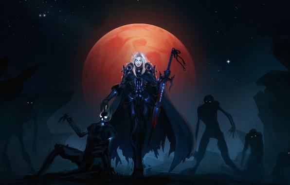 Картинка луна, зомби, рыцарь, wow, нежить, смерти, blood elf, кровавая