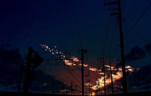 Картинка небо, облака, закат, столбы, провода, арт, kibunya 39