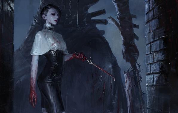 Картинка девушка, ночь, готика, кровь, рисунок, фэнтези, арт, нож, кинжал, girl, blood, fantasy, night, art, gothic, …