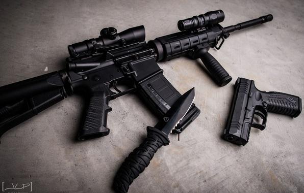 Картинка пистолет, чёрные, нож, автомат, бетон, штурмовая винтовка, Ar-15, комплект, XDm