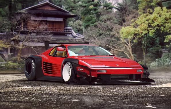 Картинка Ferrari, Red, Classic, Tuning, Future, Supercar, 512, by Khyzyl Saleem